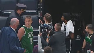 Kyrie Irving Gets Water Bottle Thrown At Him By Celtics Fan Who Then Gets Arrested! Nets vs Celtics