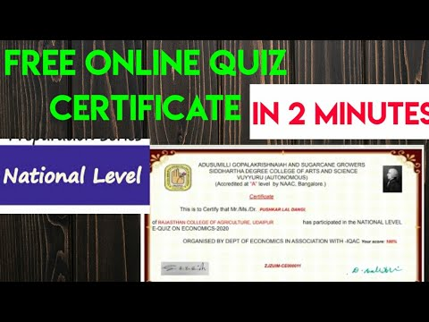Free National Level Quiz certificate on Economics in 2 Minutes|free ...