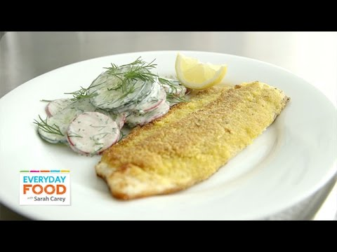 Cornmeal-Crusted Trout with Cucumber and Radish Salad – Everyday Food with Sarah Carey