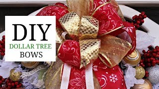 🎄DIY DOLLAR TREE CHRISTMAS BOWS🎄FOR GIFTS, WREATHS, GARLANDS ETC...