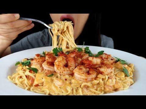 ASMR CREAMY Spicy Shrimp Alfredo Pasta 🦐🧀 *Big Bites, No Talking Eating Sounds Mukbang