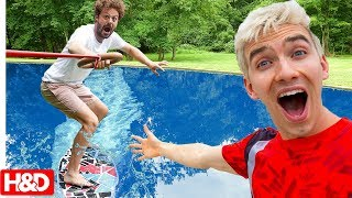 EXTREME SKIMBOARDING IN POND with Stephen & Carter Sharer (Gone Wrong??)
