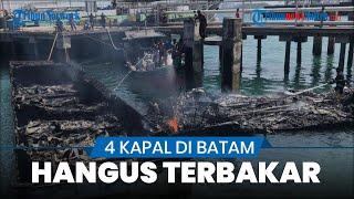 Detik-detik 4 Kapal Tangkapan Bea Cukai di Tanjunguncang Batam Hangus Terbakar