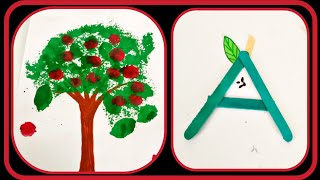 Alphabet Crafts For Kids|Letter A|How To Paint An Apple Tree Easy