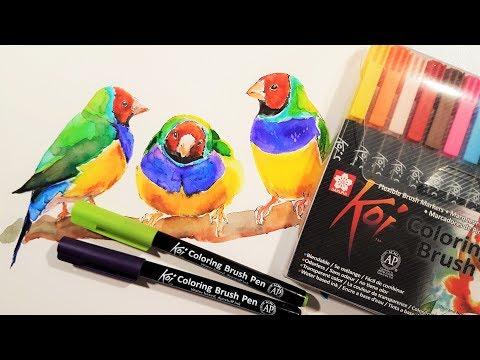 Sakura Koi Coloring Brush Pens Review & Demo