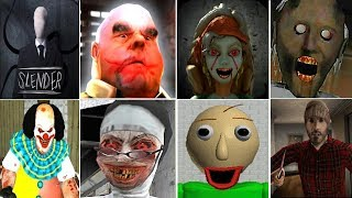 Granny Vs Evil Nun Vs Mr.Meat Vs Maidy Vs Clown Pennywise Vs It Clown Erich Sann Mr Vs Slender Man