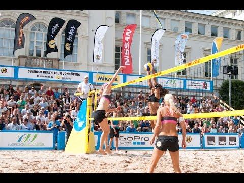 Damfinal i Swedish Beach Tour Jönköping 2014 mellan Camilla Nilsson / Tadva Yoken och Tora Hansson / Sofia Ögren.