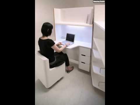 Platzsparende Möbel Weiße Jalousien