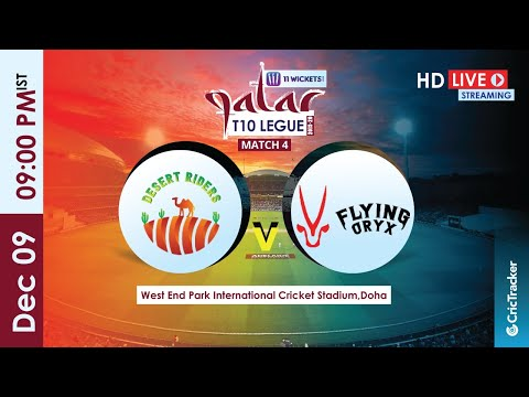 Qatar T10 Live Streaming : 4th Match Desert Riders vs Flying Oryx