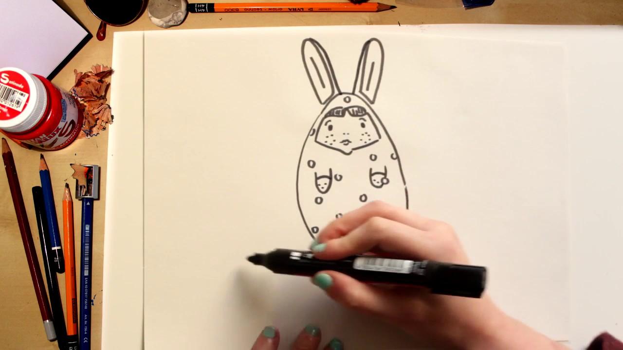 ????????Como dibujar Coccinelle disfrazada de Huevo de Pascua fácil (comentado)