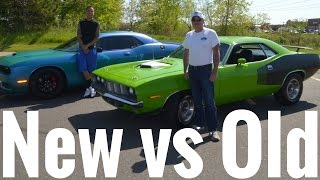 Old School Muscle vs New School Muscle !! Hemi Cuda vs Hellcat !!