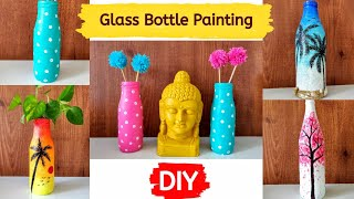 Simple Glass Bottle Painting Ideas|How To Decorate A Glass Bottle With Paint|Glass Bottle Painting