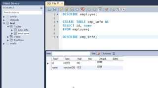 SQL Tutorial - 10: Creating Tables from Other Tables