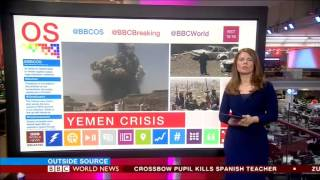 Nuala McGovern presenting Outside Source on BBC World News