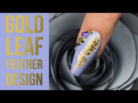 Feather Nail Art Design Using Gold Foil Leaf with a Bit of Bling