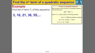Find The Nth Term Of A Quadratic Sequence