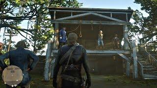 Red Dead Redemption 2 - Capturing & Hanging Lemoyne Raider Gang Leader Lindsey Wofford (PS4 Pro)