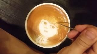 本日の暇カプチーノ、『スナフキン』。moomin snufkin ラテアート Latteart