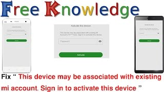 This device may be associated with existing mi account. Sign in to activate this device in hindi