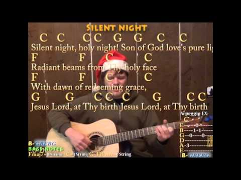 Silent Night (Christmas) Fingerstyle Guitar Cover Lesson with Lyrics Chords - Sing and Play