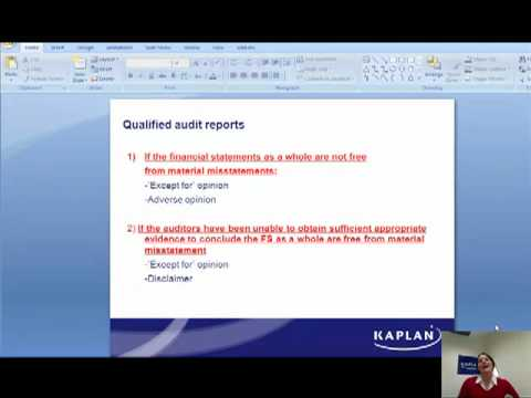 Types of audit reports Masterclass by Kaplan