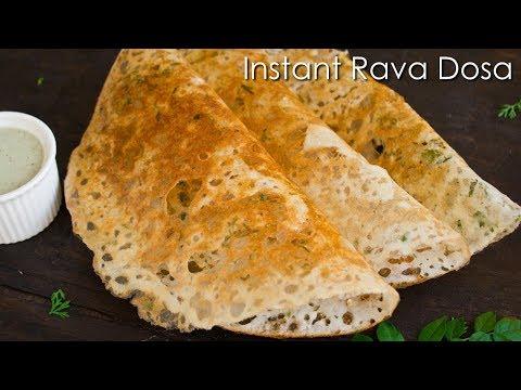 Instant Rava Dosa | Crispy Sooji Dosa | Quick Breakfast Recipe ~ The Terrace Kitchen