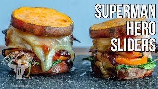 Superman Hero Sweet Potato Slider Melts / Sliders de Pavo y Batata con Queso