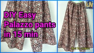 How To|DIY Easy Palazzo Pants in 15 min|Beginner|Split Skirt|Asvi
