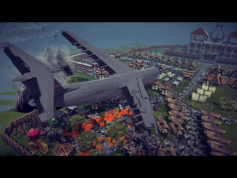 C-5 Galaxy Crashing into a Small Village + Other Awesome Destruction   Besiege