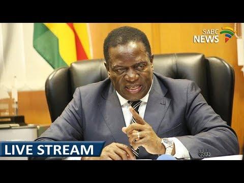 WATCH: Mnangagwa addresses the crowd at Zanu (PF) HQ tonight