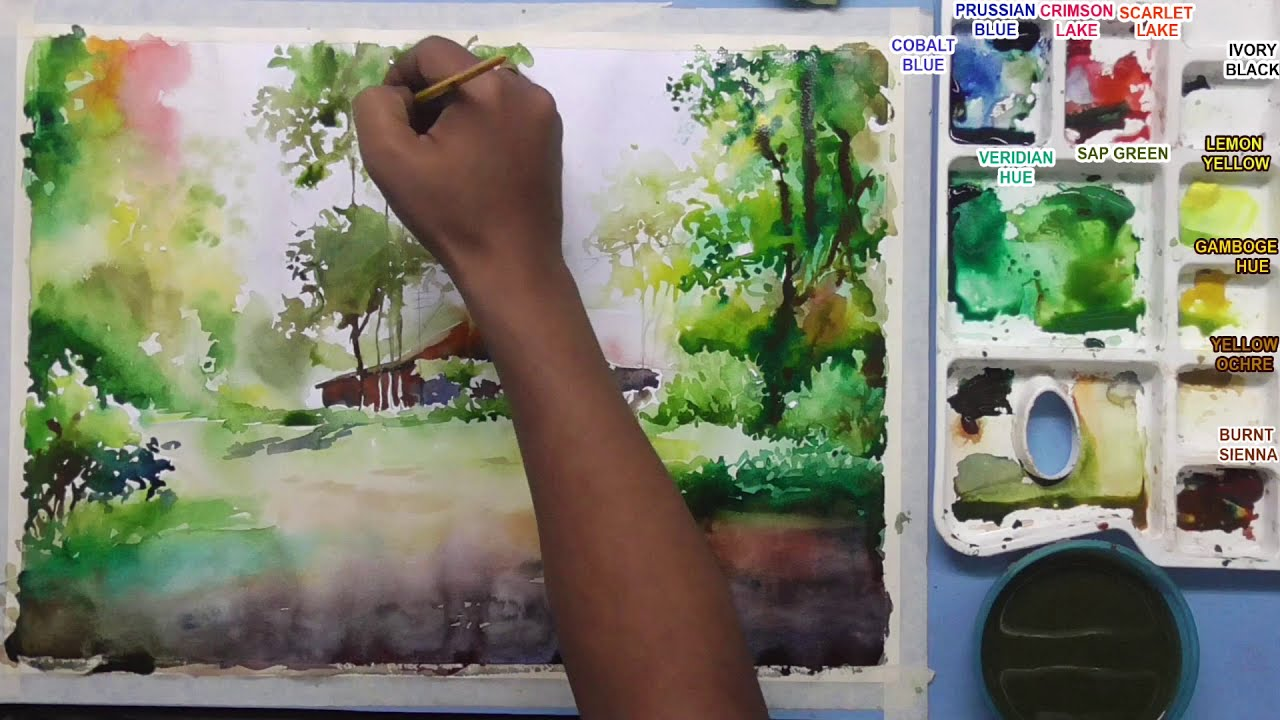 watercolor painting landscape by nihar debnath