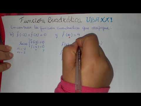Funcion Cuadratica. Encontrar la formula dada sus raices. CBC-UBA