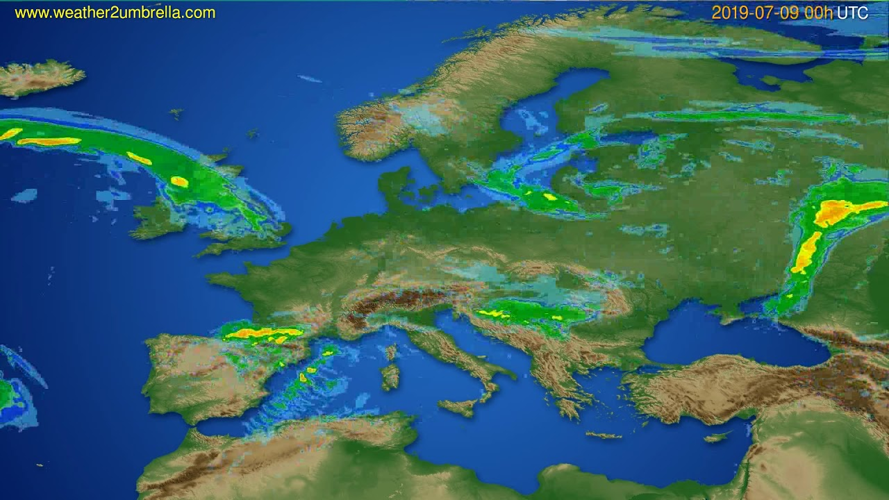 Radar forecast Europe // modelrun: 12h UTC 2019-07-08