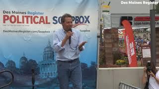 Democratic governor of Montana Steve Bullock speaks at the Register's political soapbox