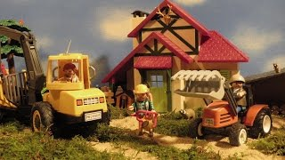 Playmobil Film deutsch Traktor Holztransporter Kran Forsthaus Stop Motion Kinderserie