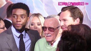 Benedict Cumberbatch, Stan Lee & Chadwick Boseman Pose For Cameras At Doctor Strange Premiere