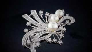 Ornate Vintage Pearl 2.00 Carat Diamond Brooch Art Deco Style