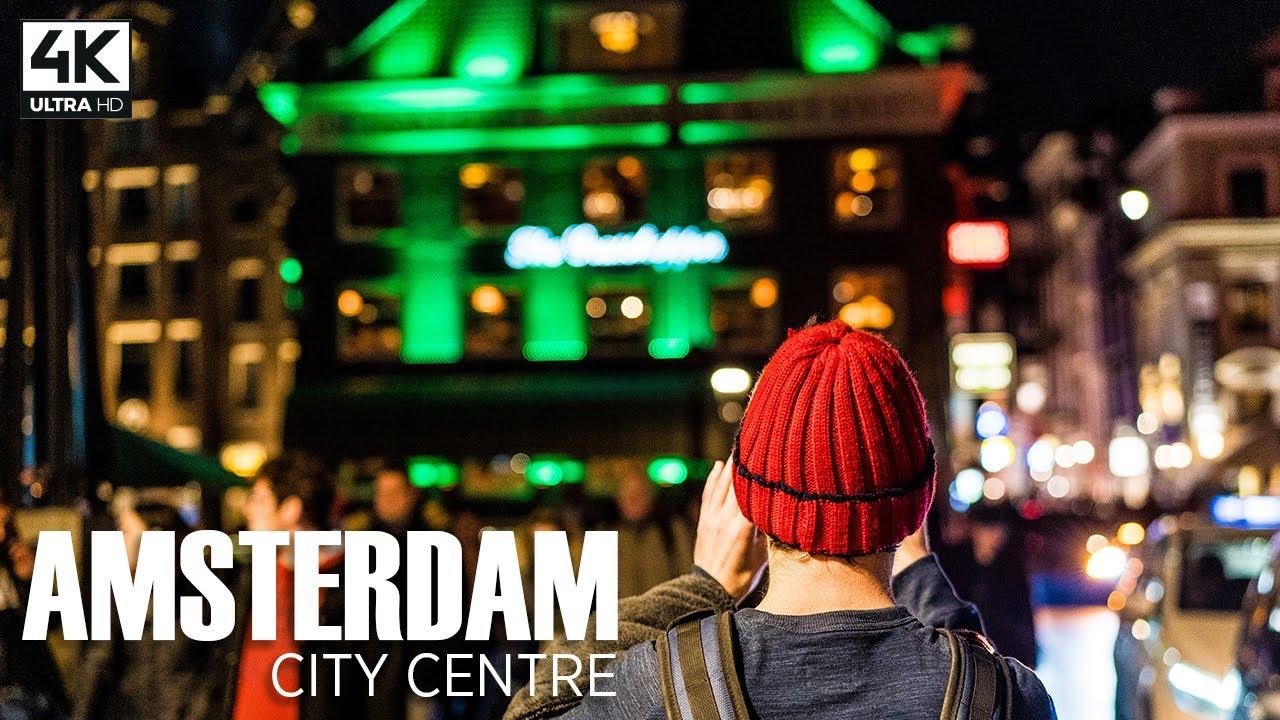 Walking Around AMSTERDAM City Centre at Night