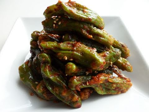 Steamed shishito peppers: Kkwarigochujjim