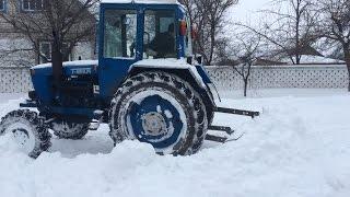 Самодельный отвал на Т-40 АМ. Уборка снега.