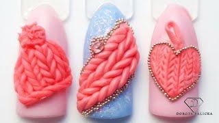 3d knitted plasteline gel nail art. 3d plasticine gel knitt effect. Nails 2020. 3d jumper gel nails