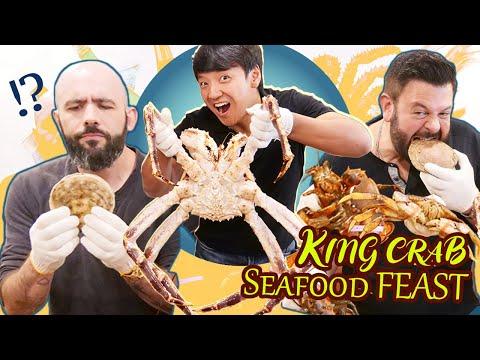 KING CRAB SEAFOOD FEAST & Sake With Adam Richman & Binging with Babish