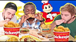 Funny JOLLIBEE Eating with BARE HANDS Only! We became Filipinos🙌😂