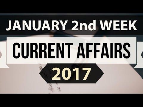 January 2017 2nd week current affairs (ENGLISH) - IBPS,SBI,BBA,Clerk,Police,SSC CGL,KVS,CLAT,UPSC,