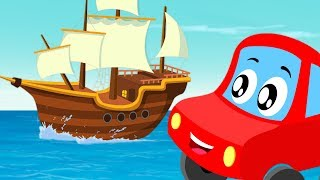 Little Red Car Cartoons | I Saw A Ship A Sailing | Kindergarten Nursery Rhymes For Children