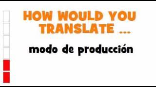 SPANISH TRANSLATION QUIZ = modo de producción