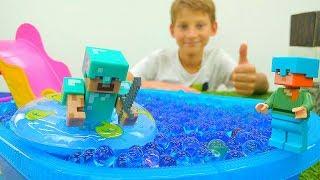 Видео игры. Майнкрафт пляж и водные горки для Стива.