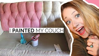 DIY I PAINTED MY COUCH! Yes, REALLY!!! | Laci Jane