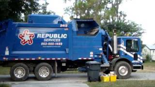 New garbage truck video Polk County FL runs on CNG compressed natural gas