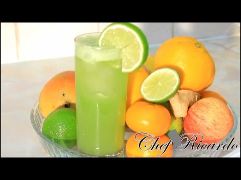 Video Cucumber juice with ginger , lime & honey. Chef Ricardo Cooking